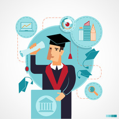 Illustration of graduate speaking speech