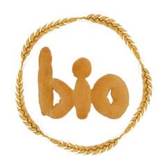 Label für Biobrot mit Kreis aus Weizenähren