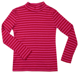 Red striped turtleneck. Isolated on white