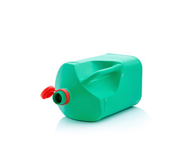 Green plastic container on white background