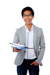 Portrait of a happy asian man with folder over white background