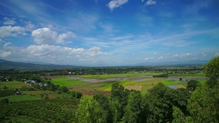 HD Time Lapse Rice Field blue sky wide