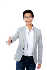 Happy asian man shake hand with you on white background