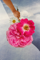 Girl's hand with a flower on background sky with cloud
