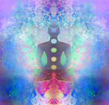 Fototapety Yoga lotus pose. Padmasana with colored chakra points.