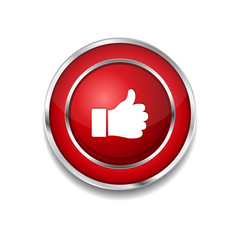 Thumbs Up Circular Vector Red Web Icon Button
