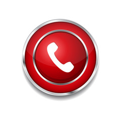 Call Circular Vector Red Web Icon Button