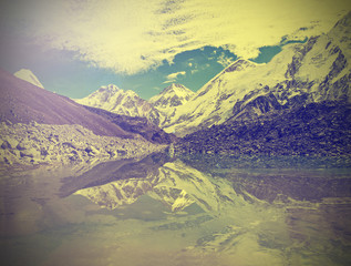 Vintage mountain view of Everest Region with lake, Nepal.