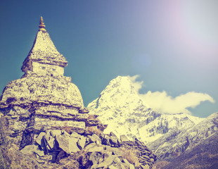 Himalaya mountains in Nepal, vintage retro effect.