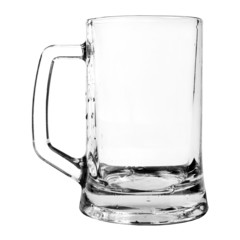 empty beer mug isolated on white