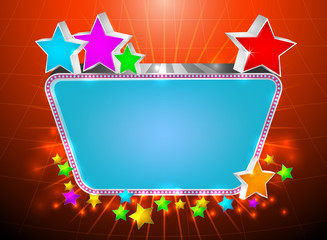 Glossy marquee with colorful stars vector background