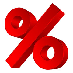 Red Percent Sign 3D Sale Angled