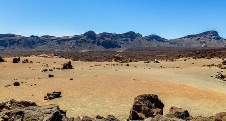 Volcanic desert caused by the Teide volcano in Tenerife