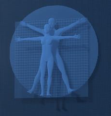 Leonardo Da Vinci Vetruvianischer Mann, Mensch, blau