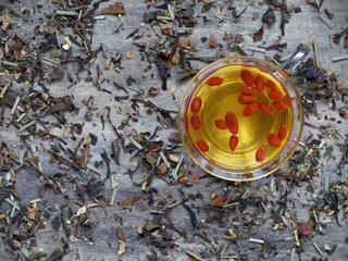 Goji berries soaked in green tea