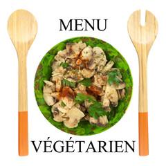 menu végétarien, champignons