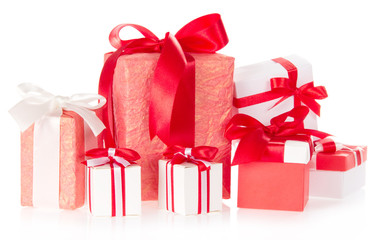 Various gift boxes with ribbons and the bows