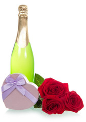 Wine, gift and roses