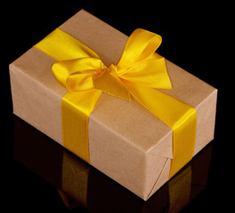 Gift box with yellow bow
