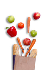 Fresh balanced grocery shopping concept