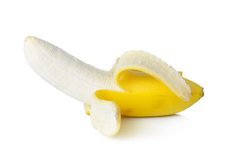Peeled banana on white background
