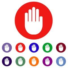 Набор круглых векторных иконок с изображением руки