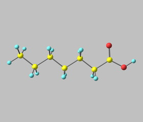 Heptanoic (enanthic) acid molecule isolated on gray