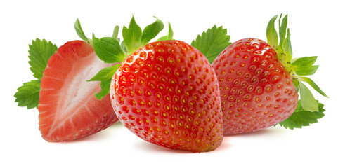Horizontal strawberry composition isolated on white background