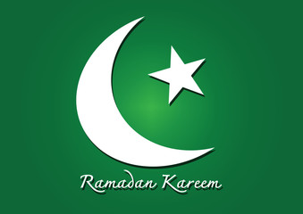 Ramadan Kareem Colorful moon and star for holy month of muslim