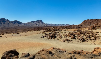 Desert formed by volcanic rocks in Tenerife