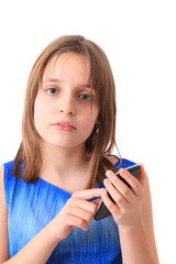 small girl and mobile phone