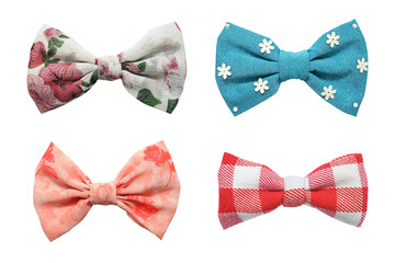 Four bows tie collection isolated on white background