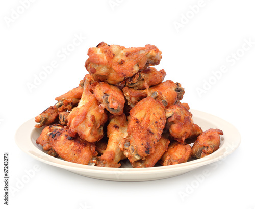Fotobehang Salade Hot Meat Dishes - Fried Chicken Wings with Curry Sauce