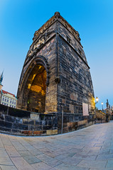 Tower on Charles Bridge in Prague early in the morning at sunris