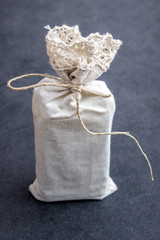 Hand crafted gifts on rustic background