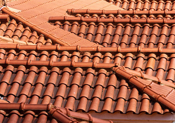 background of roof tiles pattern