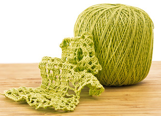 Crochet. knitting pattern with a ball of yarn