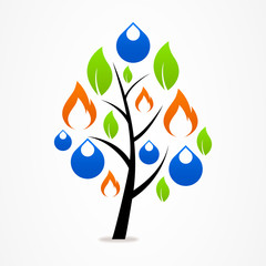 Logo business abstract tree drop fire leaf