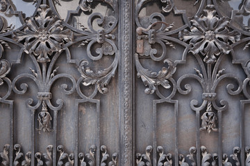 Decorative metal gate of historical building