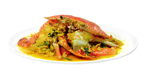 Stirred Fried Crab with Garlic, Pepper, Curry Powder.