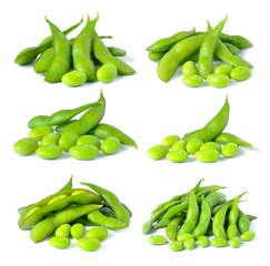 Set of green soybeans on white background