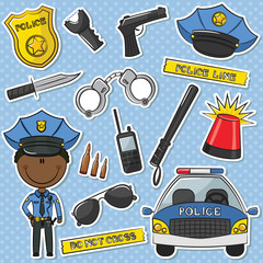 African-American Police Officer With Tools