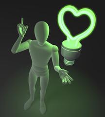 Figur mit grüner Neonlampe, Herzform, Symbol für Idee und Liebe