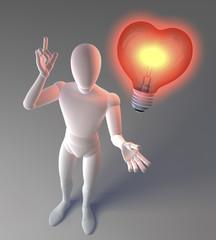 Figur mit Glühlampe, Herzform, Symbol für Idee und Liebe