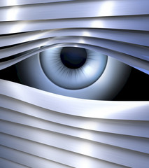 Secret eye, spionierendes Auge hinter Jalousie, Spionage