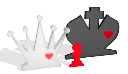 queen, king and pawn as family metaphor