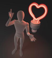 Figur mit roter Neonlampe, Herzform, Symbol für Idee und Liebe