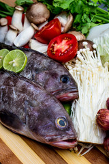 Fish with ingredients of Thai spicy food, tom yum.
