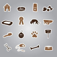 dog stickers set eps10