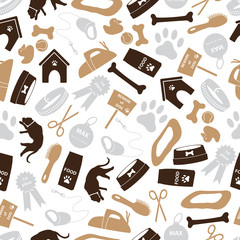 dog icons brown color seamless pattern eps10